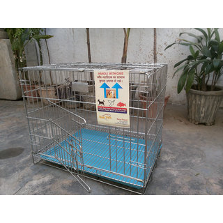 Dog Cage Stainless steel Good for Pups Cats Rabbits Guinea Pigs 24 Inch Length