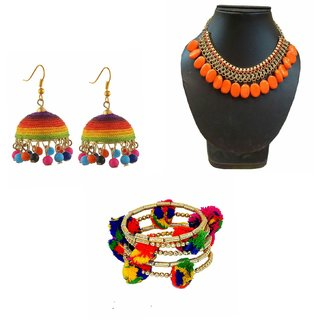 Minha Non Plated Multicolour Alloy Necklace Set , earring , bracelette