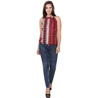 Klick2style Stylish Halter Neck Printed Top Red