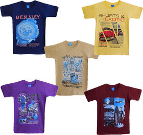 Jisha Fashion Boys Cotton Tshirt (Shivam) Multicolor Set of 5