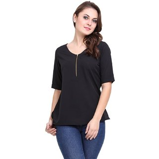 Stylish Front Zip Roll on Sleeves Top Black