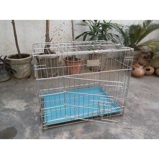 Dog Cage Stainless steel Good for Pups Cats Rabbits Guinea Pigs 18 Inch Length