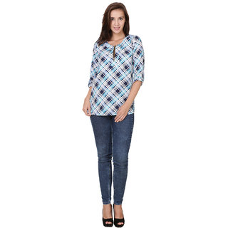 Stylish Front Zip Roll on Sleeves Check Print Top Blue