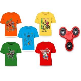 Pari  Prince Multicolour Kids Printed Round Neck Cotton T-shirt(Set Of 5) with free Fidget Spinner