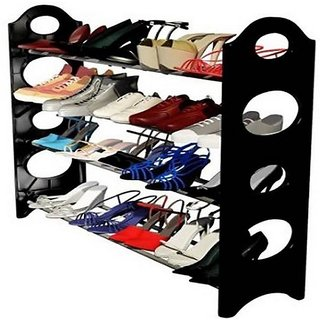 Bincy black shoe stand Steel Plastic Shoe Rack (Black 12 Shelves)