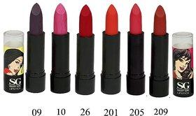 Amura Smart Girl LipStick Set of 6 (09,10,26,201,205,209)