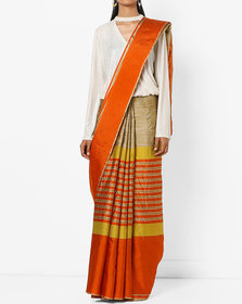 Red & Gold Cotton Silk Printed Saree with Blouse