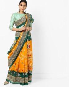 Yellow Bhagalpuri Silk Printed Saree with Blouse