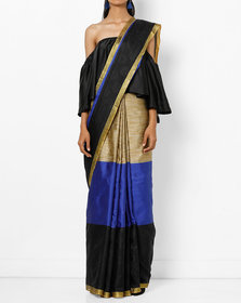 Gold & Blue Cotton Silk Printed Saree with Blouse