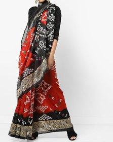Maroon Bhagalpuri Silk Printed Saree with Blouse