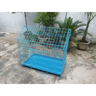Dog Cage Hut Shape Blue Good for Dog, Cat, Grey Parrot  Cockatoo 30 Inch Length