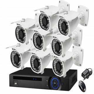 EWARE HD CCVT 720P NIGHT VISION WATERPROOF 1000TVL 3.6MM 8 PCS BULLET CAMERA 8-CH DVR 1 PCS