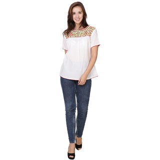 Trendy Cambric Cotton Multi Embroidery Top White Color