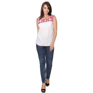 Trendy Cambric Cotton Red Embroidery Top White Color