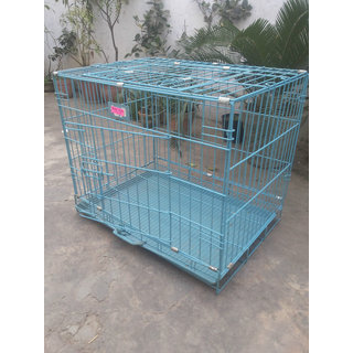 Dog Cage Blue colour Portable  Rustless Good for Pups Cats Rabbits  Guinea Pigs