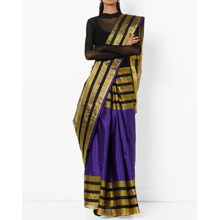 Purple Cotton Silk Printed Saree with Blouse