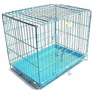 Dog Cage Blue colour Portable  Rustless Good for Cat Dogs Rabbits  Guinea Pigs or Cockatoo