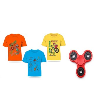 083e0fa78d1 Buy Pari Prince Mulicolor Kids Round Neck T-shirts (Set of 3) with free  Fidget Spinner Online - Get 57% Off