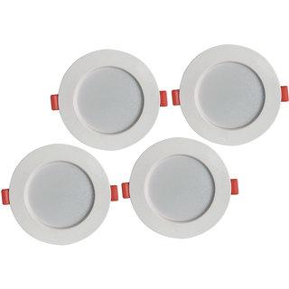 Bene LED Konnect Round Virgin Plastic Ceiling Light, (Warm White, 7w, Pack of 4 Pcs)
