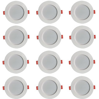 Bene LED Konnect Round Virgin Plastic Ceiling Light, (Warm White , 7w, Pack of 12 Pcs)