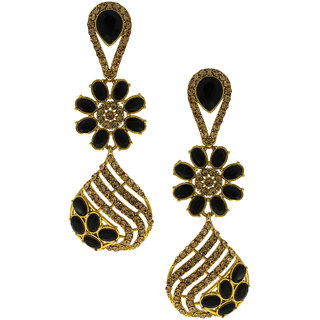 83ef072f9a9f1 Anuradha Art Golden Finish Studded Black Colour Shimmering Stone Wonderful  Classy Traditional Long Earrings For Women/Girls