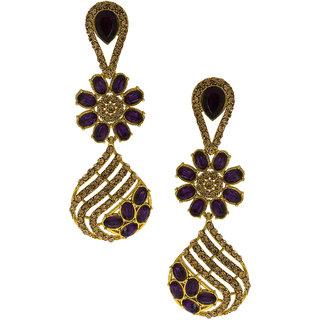 Anuradha Art Golden Finish Studded Purple Colour Shimmering Stone Wonderful Classy Traditional Long Earrings For Women/Girls