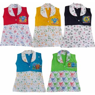 Jisha Fashion Multicolor Girls Frock with Colar Pack of 5