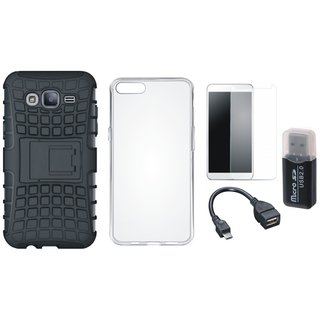 Oppo A71 Shockproof Tough Armour Defender Case with Memory Card Reader, Silicon Back Cover, Tempered Glass and OTG Cable