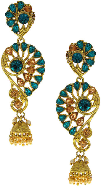 Anuradha Art Jewellery Navy-Blue Colour Studded Peach Colour Stone Classy Traditional Earrings For Women//Girls