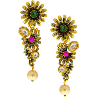 Anuradha Art Golden Colour Pink Green Flower Design Style Cly Traditional Long Earrings For