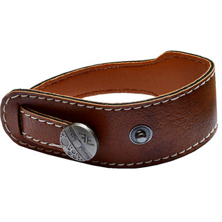 Men Style New Design Classic Button Clasp SBr005017 Brown Leather Bracelet For Men and Boys