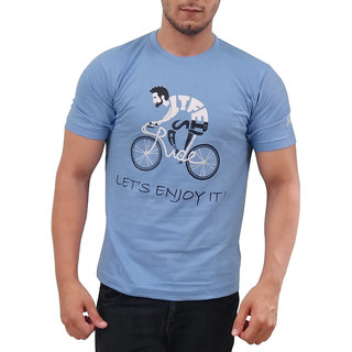 SUMMIT! Life Cycling Enjoy Men's Round Neck Half Sleeves T-shirt