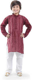 Nilay Business House Wine Boys Chikan Cotton Kurta and Pyjama with Full front and back Embrodery