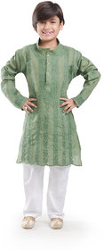 Nilay Business House Dark Green Boys Chikan Cotton Kurta and Pyjama with Full front and back Embrodery