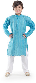 Nilay Business House Sea Blue Boys Chikan Cotton Kurta and Pyjama with Full front and back Embrodery