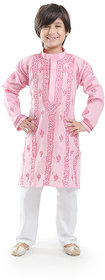 Nilay Business House Pink Boys Chikan Cotton Kurta and Pyjama with Full front and back Embrodery