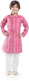 Nilay Business House Dark Pink Boys Chikan Cotton Kurta and Pyjama with Full front and back Embrodery