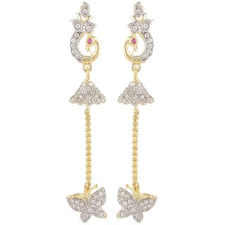 SKN Silver and Golden American Diamond Flower Alloy Drop Stud Earrings for Women & Girls