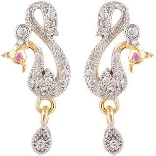 SKN Silver and Golden American Diamond Peacock Alloy Dangle & Drop Stud Earrings for Women & Girls