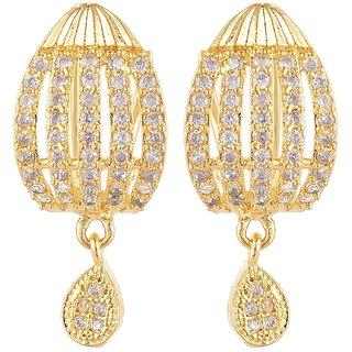 SKN Silver and Golden American Diamond Alloy Ear Bali Drop Stud Earrings for Women & Girls