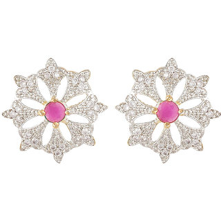 SKN Silver and Golden American Diamond Flower Alloy Stud Earrings for Women & Girls