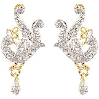 SKN Silver and Golden American Diamond Alloy Dangle & Drop Stud Earrings for Women & Girls