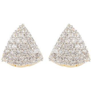 SKN Silver and Golden American Diamond Alloy Ear Bali Stud Earrings for Women & Girls
