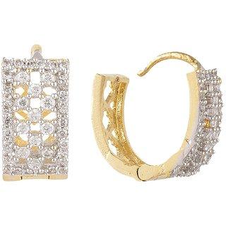 SKN Silver and Golden American Diamond Alloy Ear Bali Stud Earrings for Women & Girls