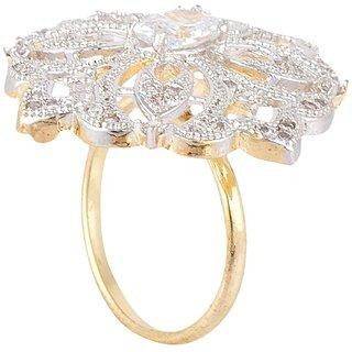 SKN Silver and Golden American Diamond Metal Ring for Women & Girls (SKN-1436)