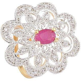 SKN Silver and Golden American Diamond Metal Ring for Women & Girls (SKN-1439)