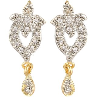 SKN Silver and Golden American Diamond  Alloy Dangle & Drop Stud Earrings for Women & Girls