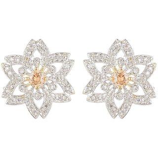 SKN Silver and Golden American Diamond Flower Alloy Stud Earrings for Women & Girls