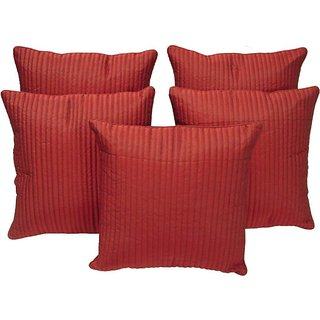 FKPL (16 inch x 16 inch) Striped Cushions Cover Maroon Color(Pack of 5 Piece)