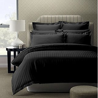 Shivaay Home Creations 300 TC Premium Cotton Satin Double king Size Bedsheet With 2 Pillow Covers - 90 x 108, Black
